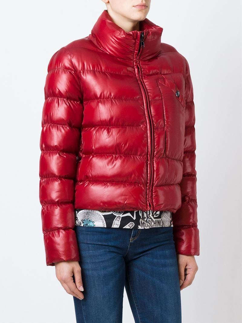 Love Moschino Love Motif Quilted Jacket In Red Lyst