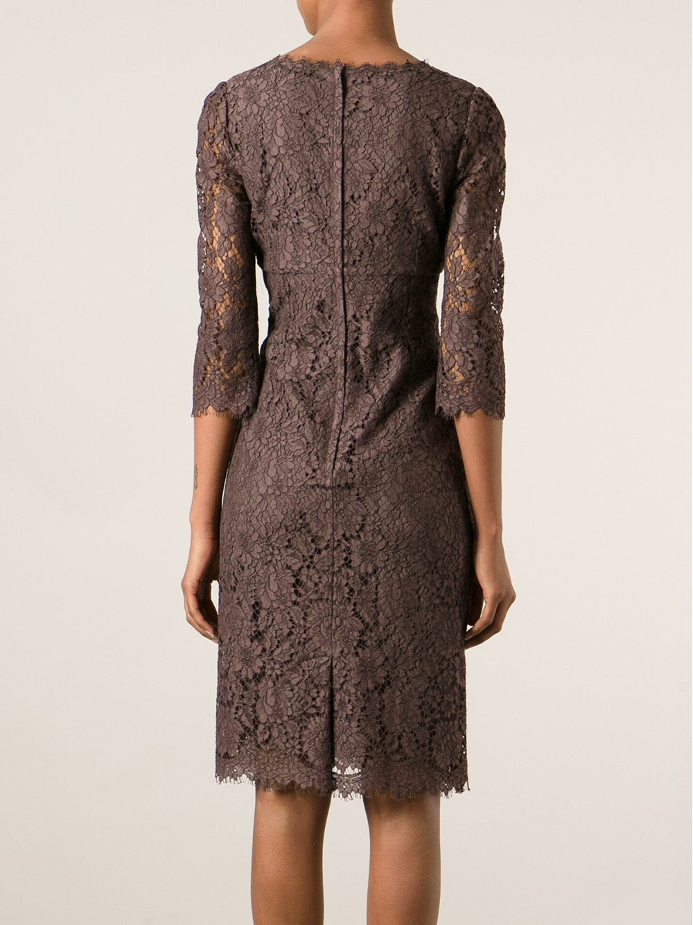 Dolce Amp Gabbana Lace Dress In Brown Lyst