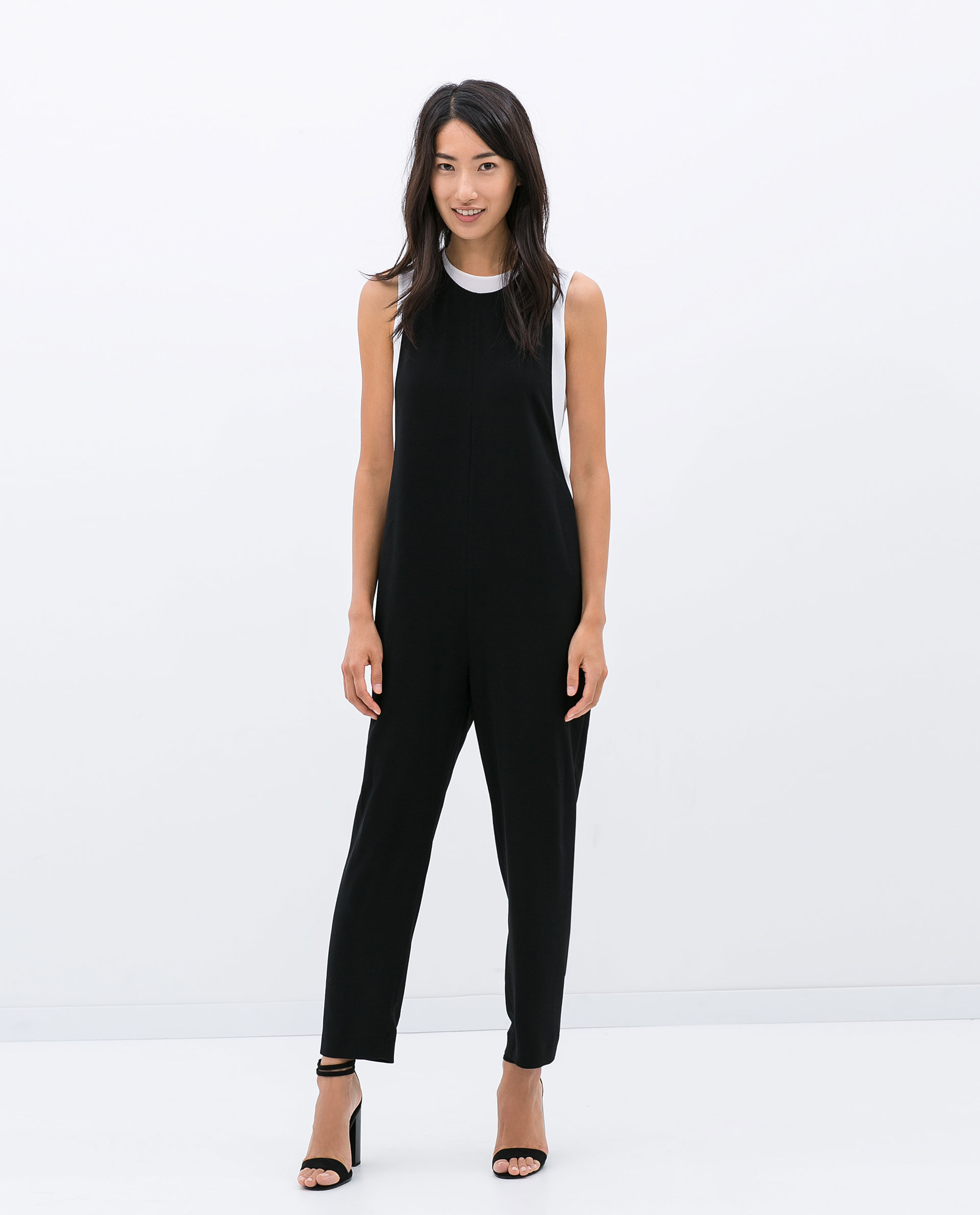 Popular Zara Baggy Jumpsuit With Crossover Neckline In Black  Lyst