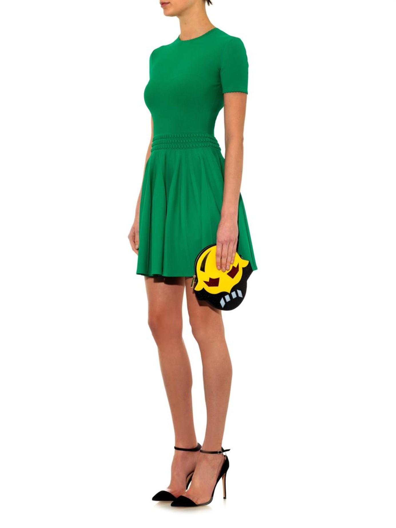 Lyst - Alexander Mcqueen Stretch-knit Dress in Green