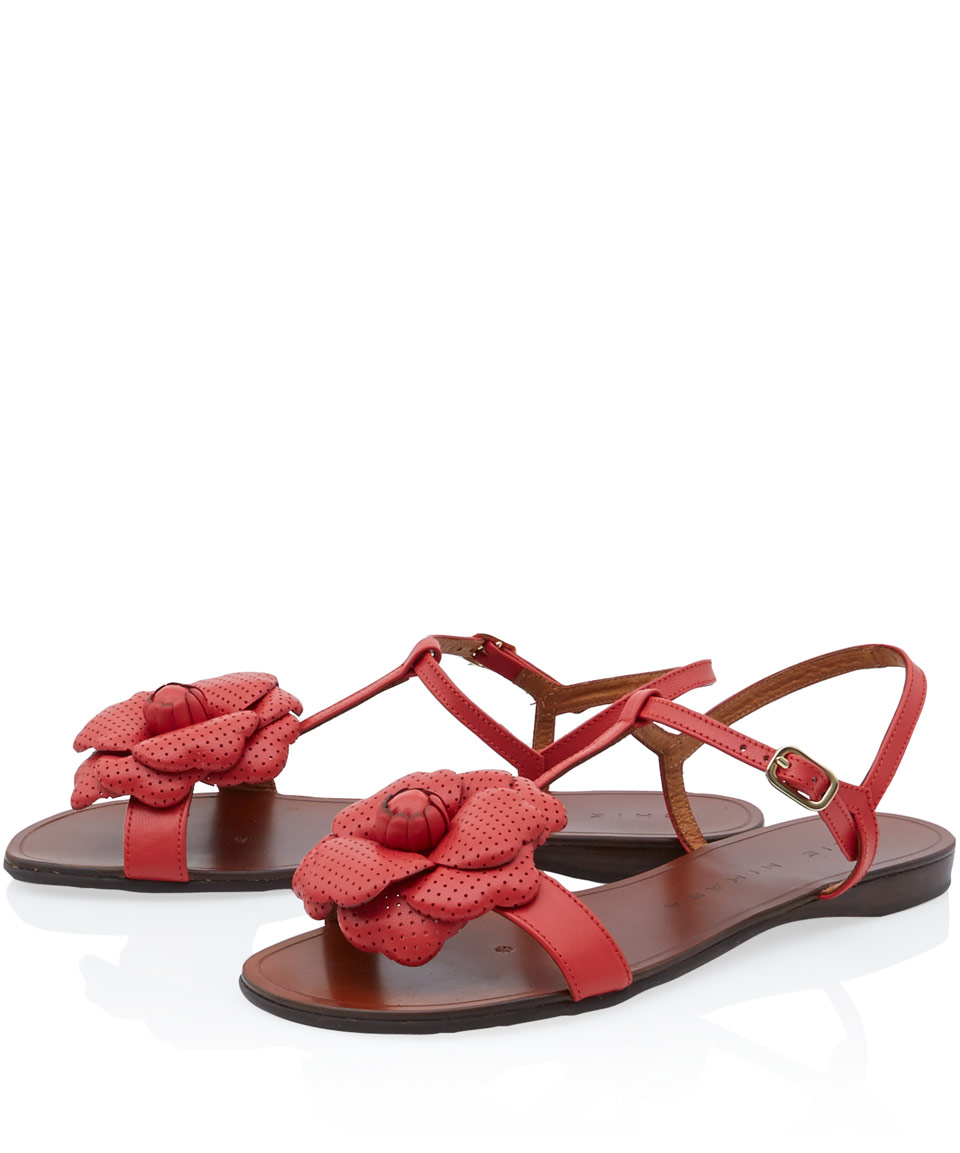Chie Mihara Red Elio Flower Sandals In Red Lyst