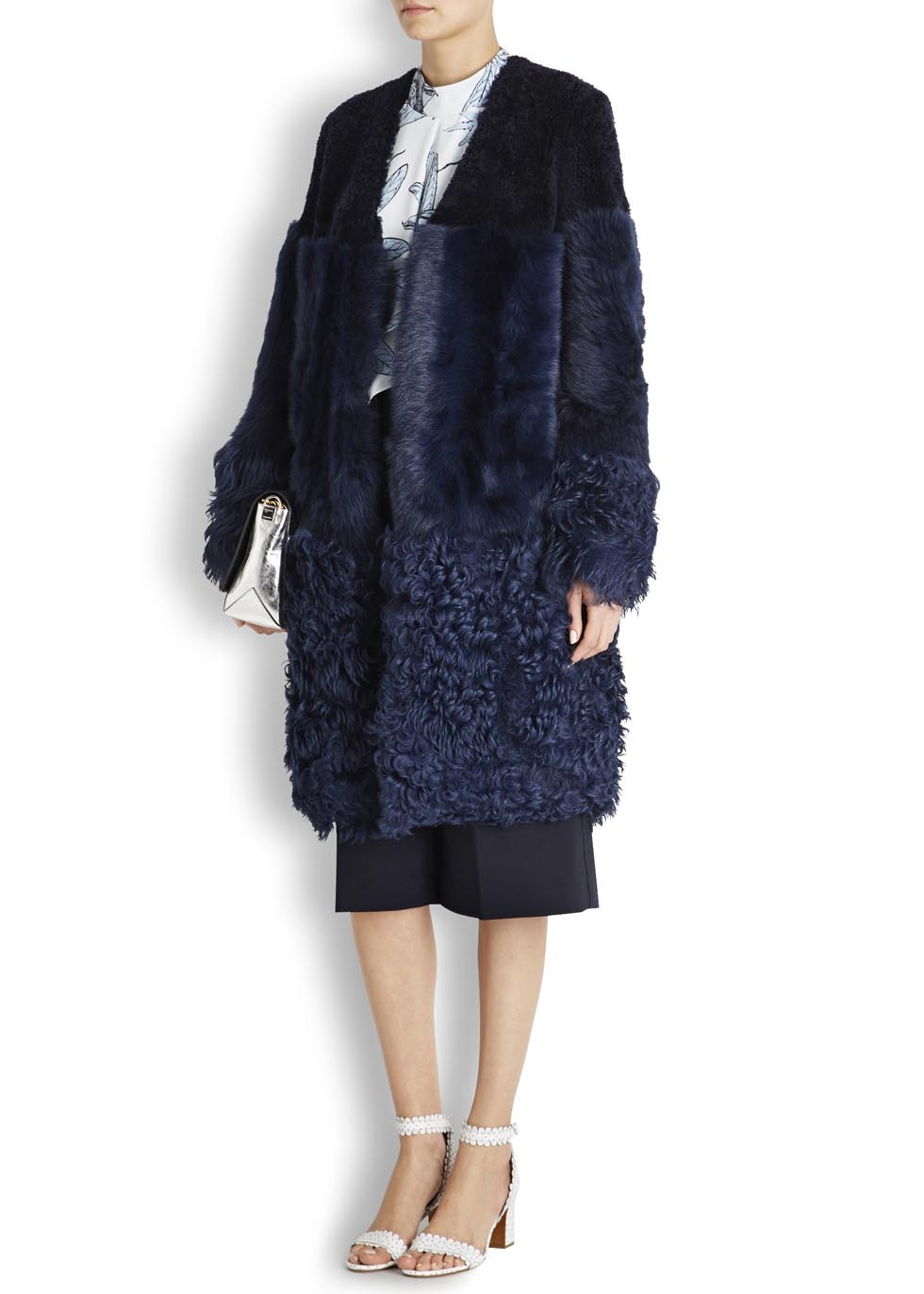 Whistles Cosmo Navy Shearling Coat in Blue | Lyst