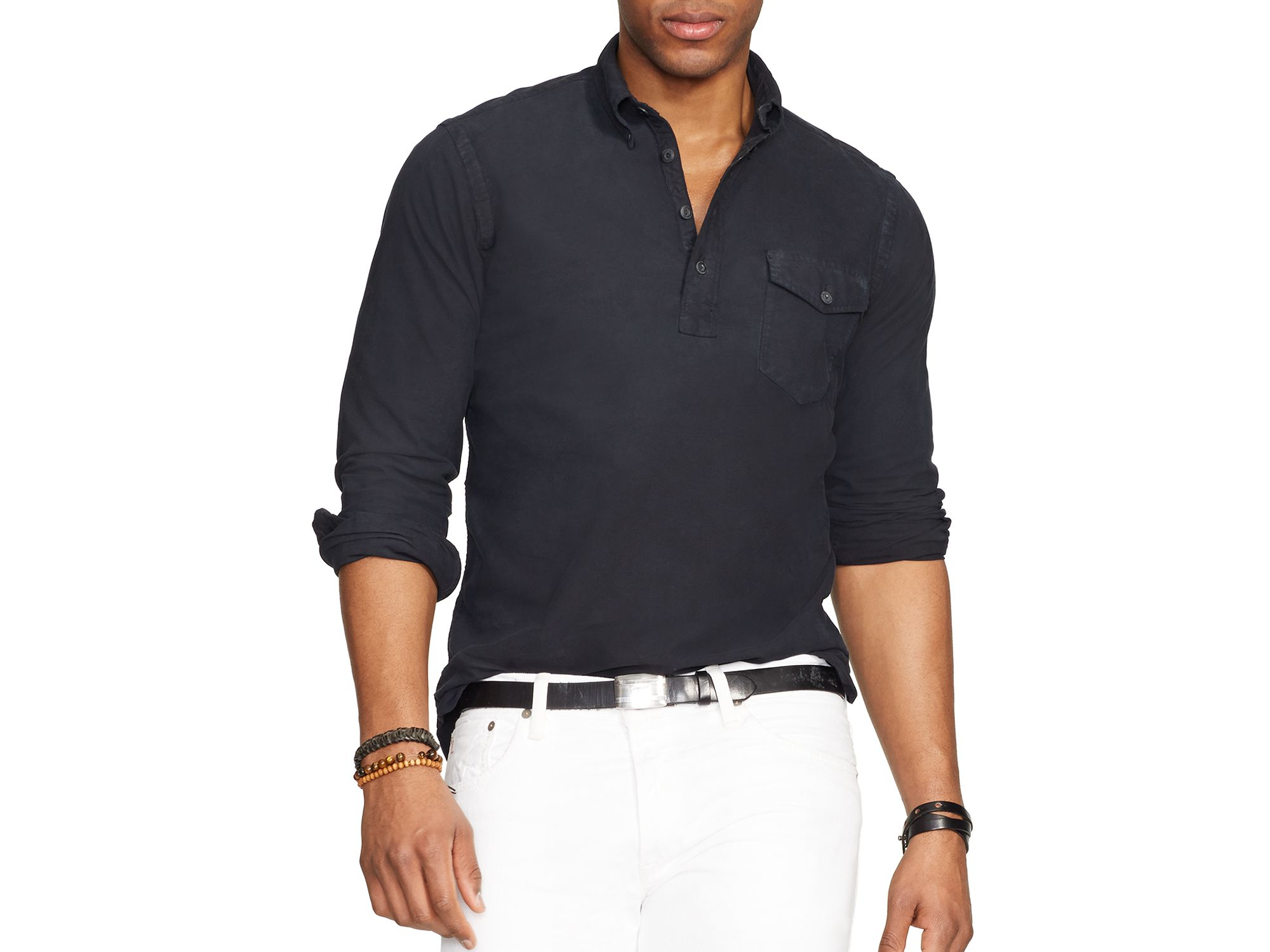 ralph lauren polo oxford bleecker pullover in black for men polo. Black Bedroom Furniture Sets. Home Design Ideas