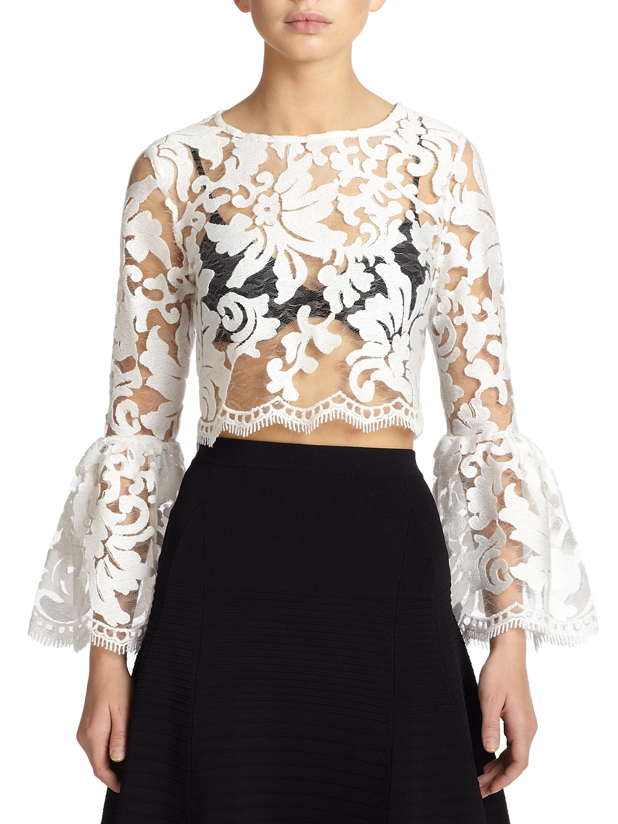 f8b269ff035 Alexis White Vito Sheer Lace Bell-sleeve Blouse