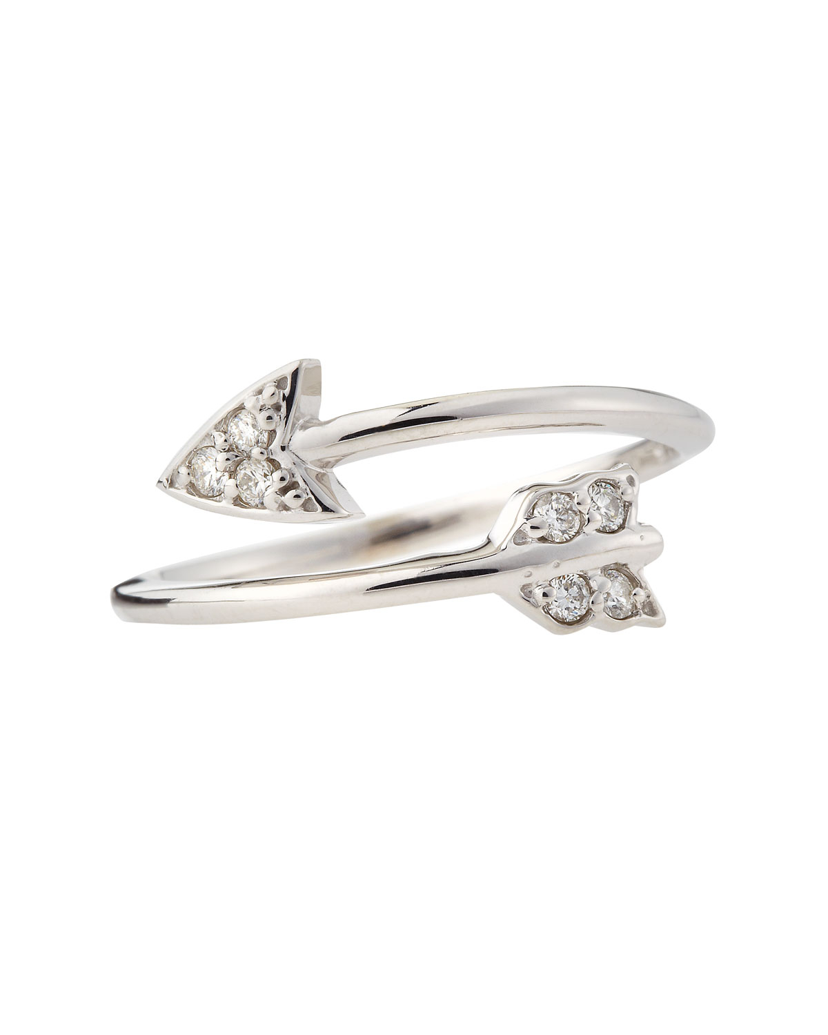 Kc designs 14k white gold diamond arrow ring in white lyst for Jewelry storm arrow ring