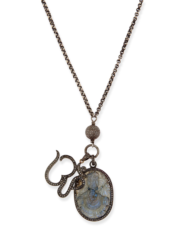 Lyst sheryl lowe carved labradorite pave diamond pendant gallery aloadofball Choice Image