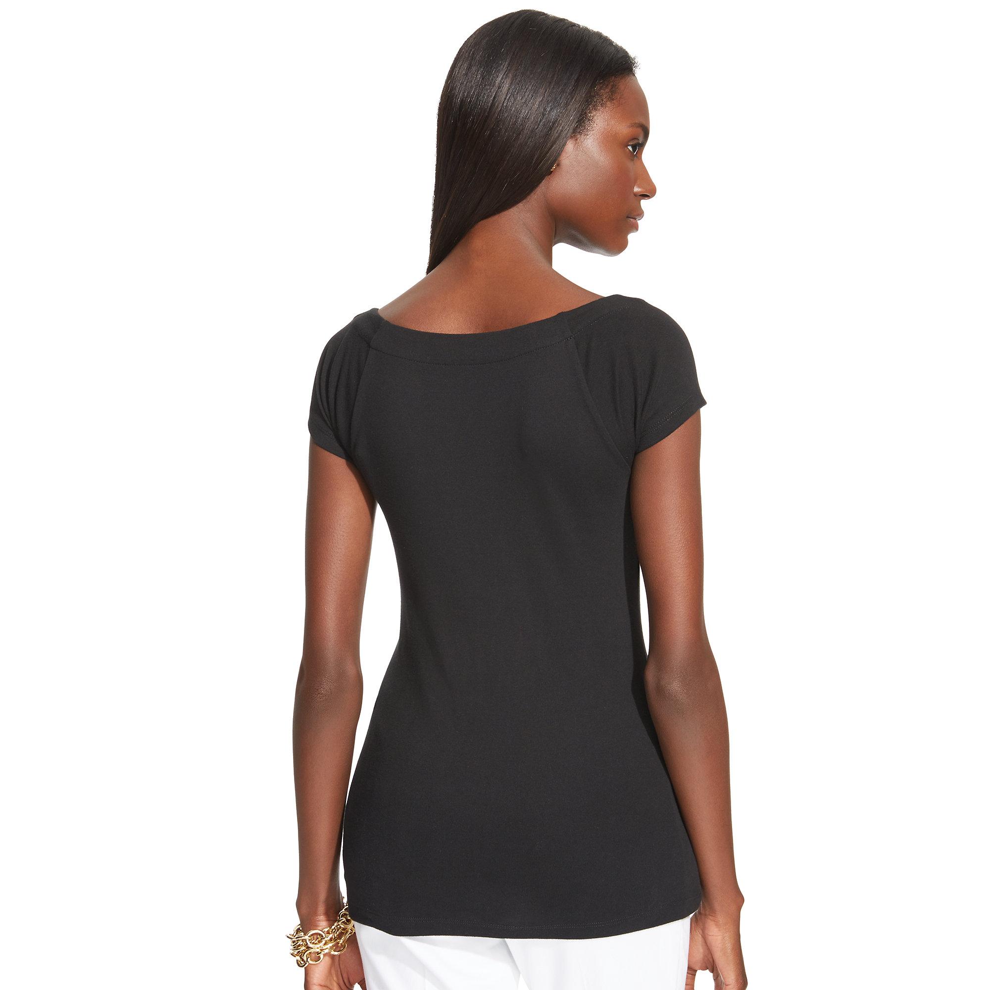 ralph lauren cap sleeved ballet neck top in black lyst. Black Bedroom Furniture Sets. Home Design Ideas