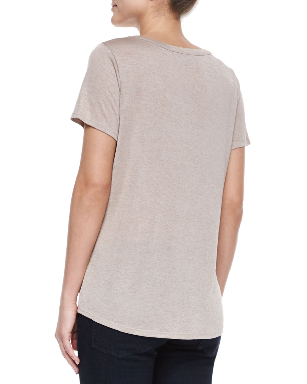 Lyst vince short sleeve scoop neck tee in gray for Vince tee shirts sale