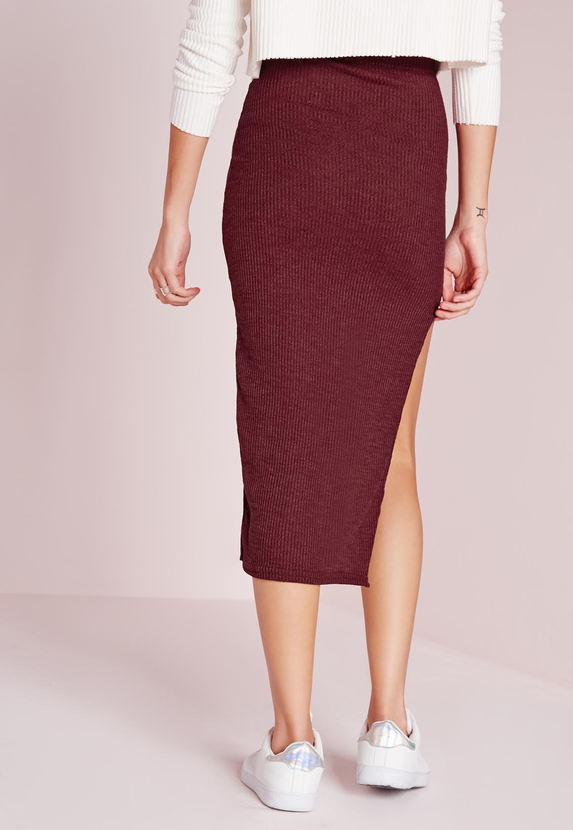 missguided curve hem split midi skirt burgundy in lyst