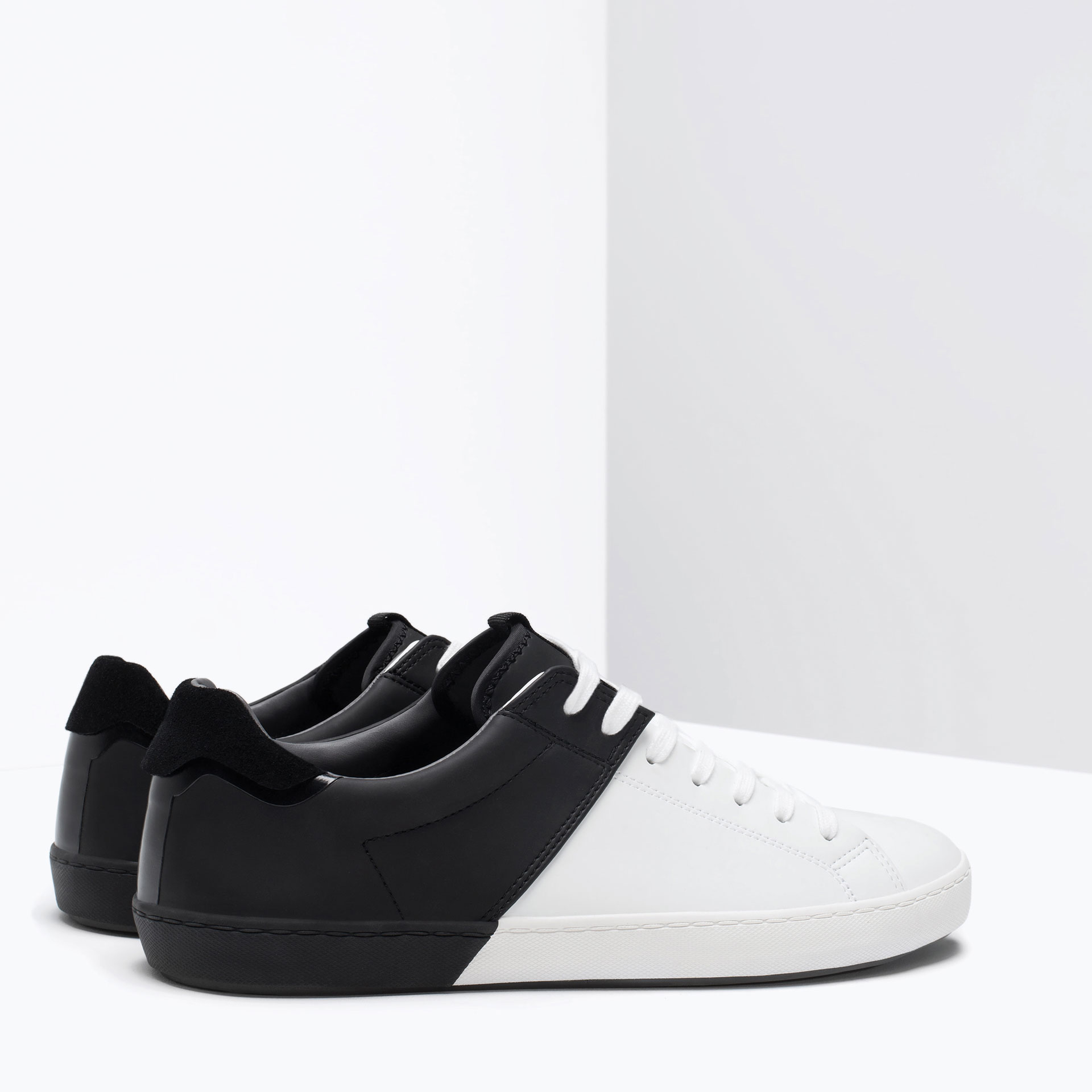 zara color block sneakers in white for lyst