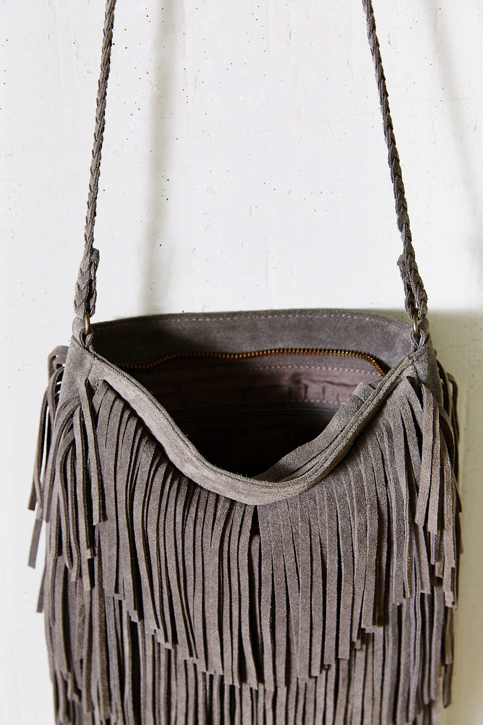 Lyst - Ecote Suede Layered Fringe Crossbody Bag in Gray 6270d9d1d1bca