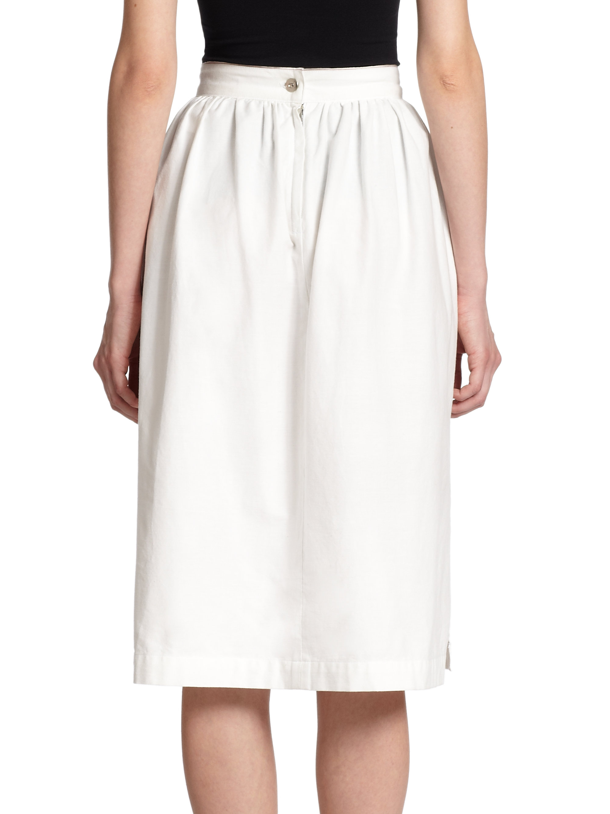 3x1 high rise cotton midi skirt in white lyst