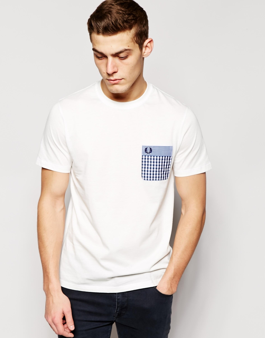 Fred perry T-shirt With Check Pocket in White for Men | Lyst