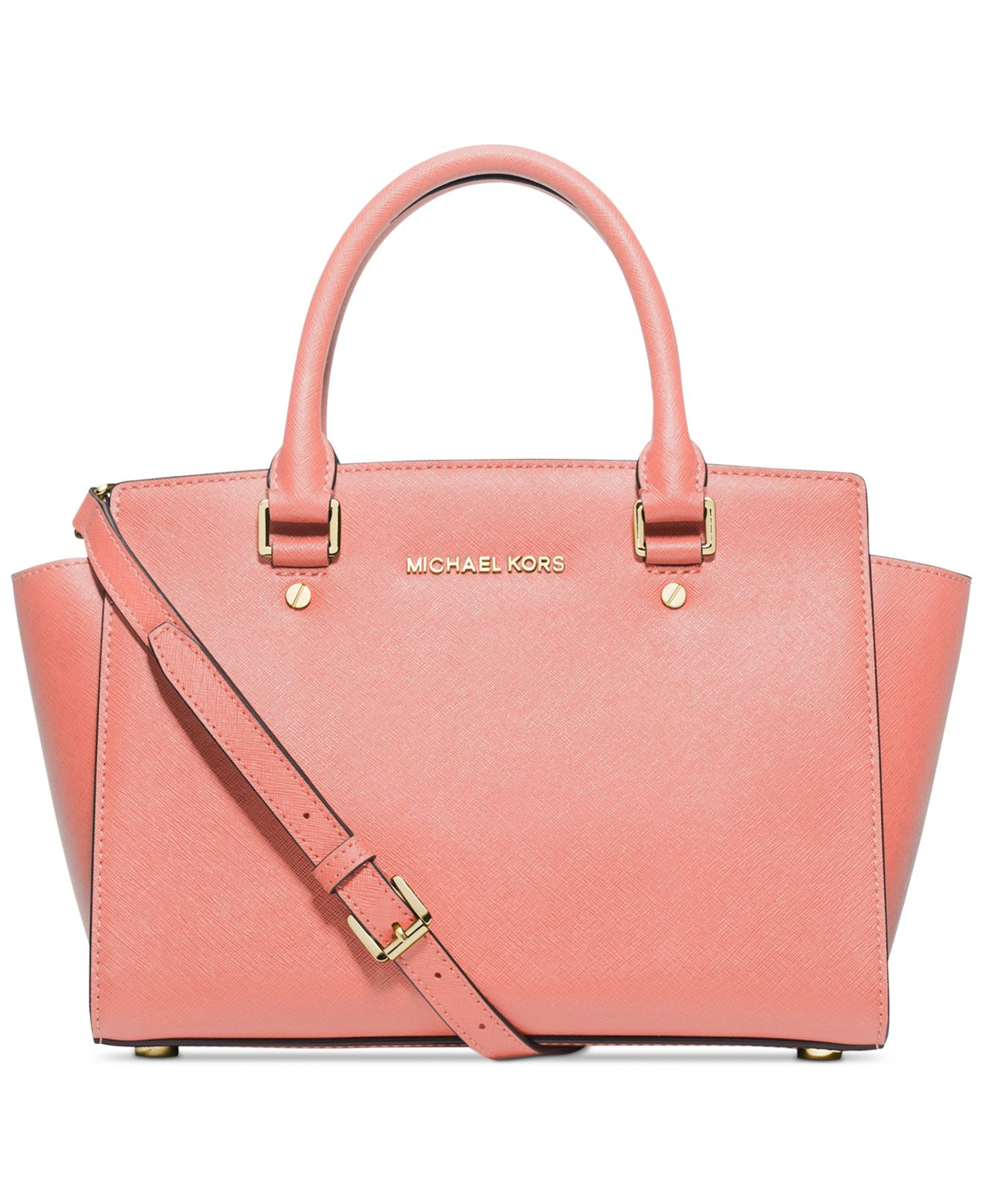 michael kors michael selma medium satchel in pink lyst. Black Bedroom Furniture Sets. Home Design Ideas