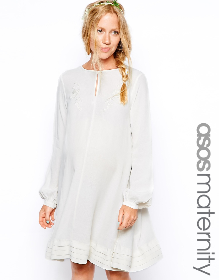 66a4556749ad ASOS Pretty Embroidered Swing Dress in White - Lyst