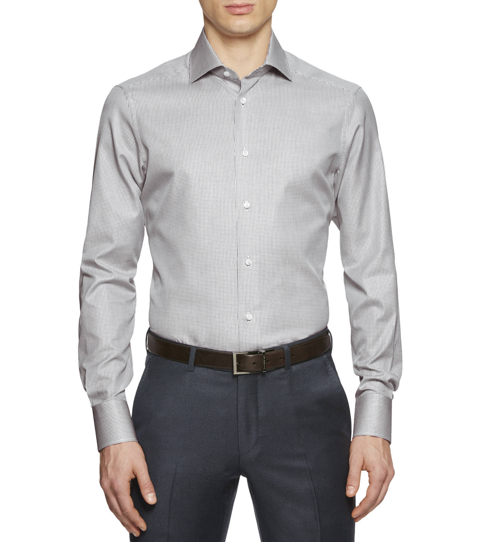 ermenegildo zegna white blue trofeo cotton shirt in blue for men lyst. Black Bedroom Furniture Sets. Home Design Ideas