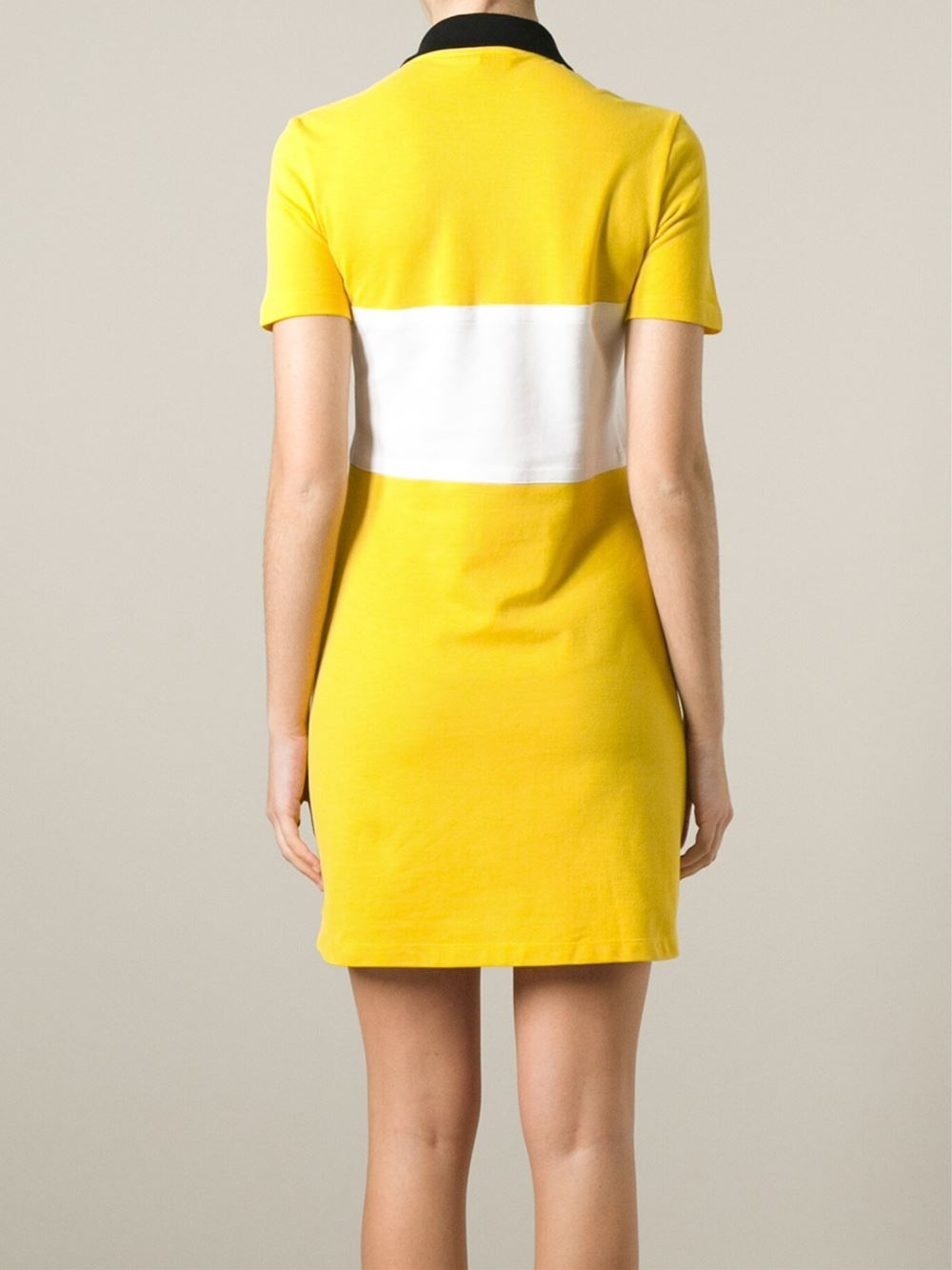 Lyst Carven Contrasting Stripe Polo Dress In Yellow