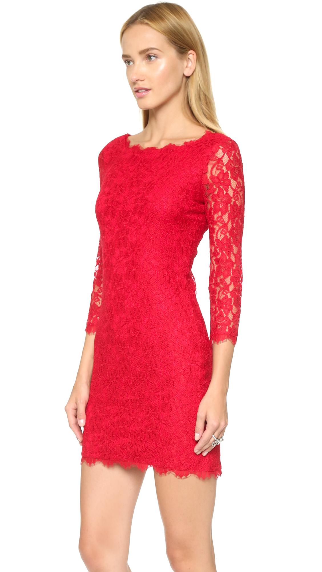 lyst diane von furstenberg zarita dress lacquer red in red. Black Bedroom Furniture Sets. Home Design Ideas