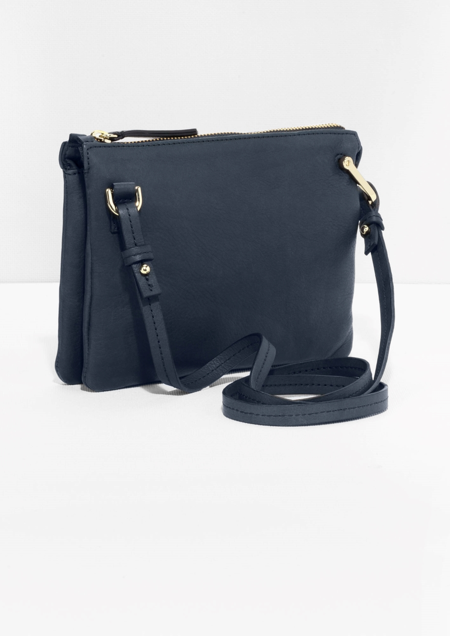 & Other Stories Leather D-ring Crossbody Bag in Blue Dark (Blue)