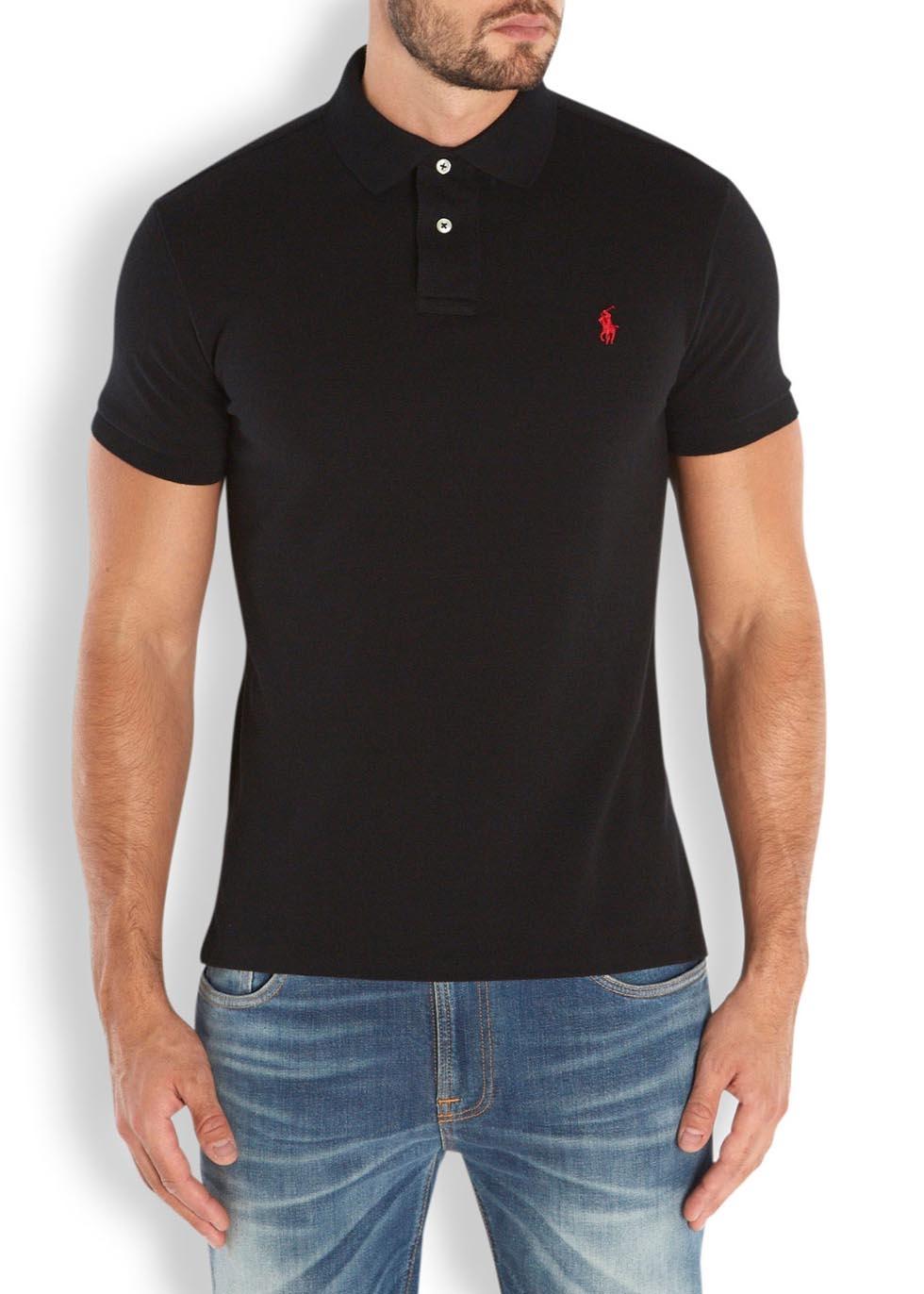 Polo ralph lauren black custom piqu cotton polo shirt in for Black cotton polo shirt