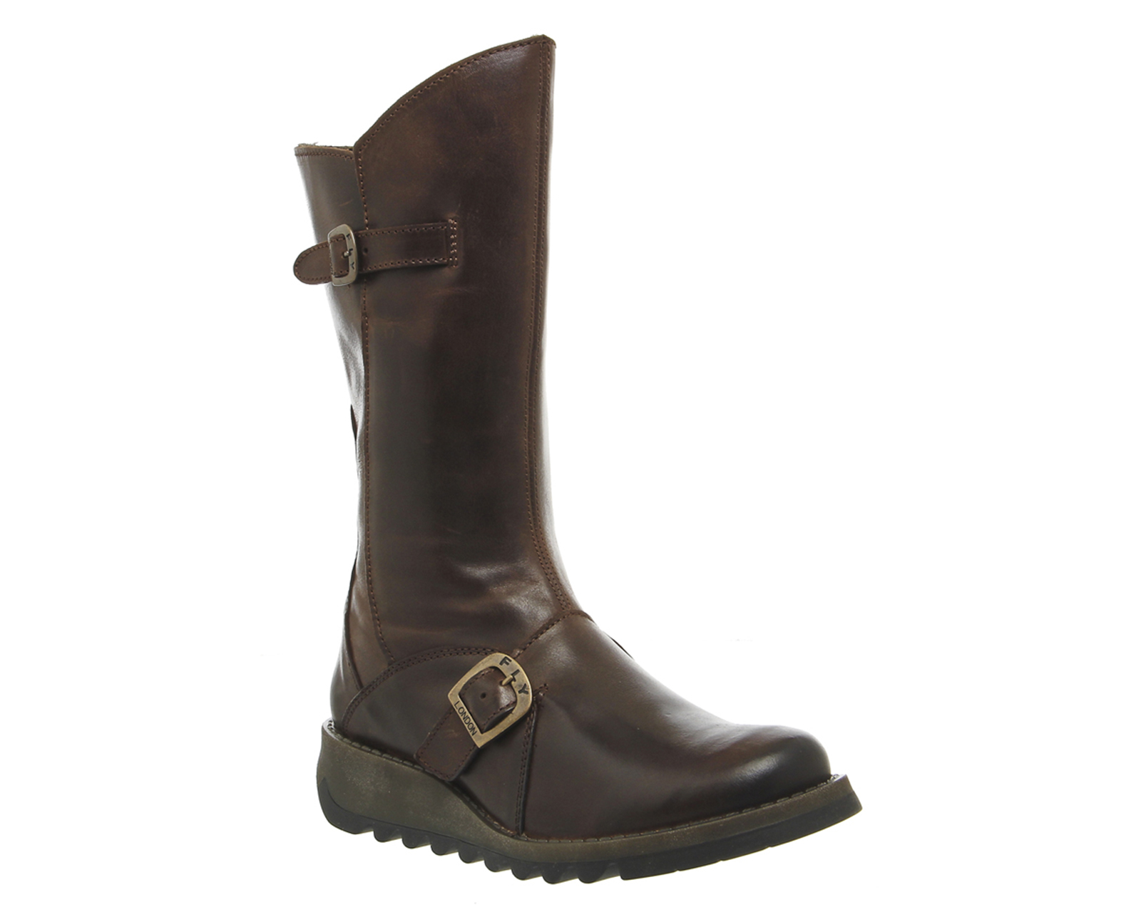 fly mes 2 wedge calf boots in brown lyst