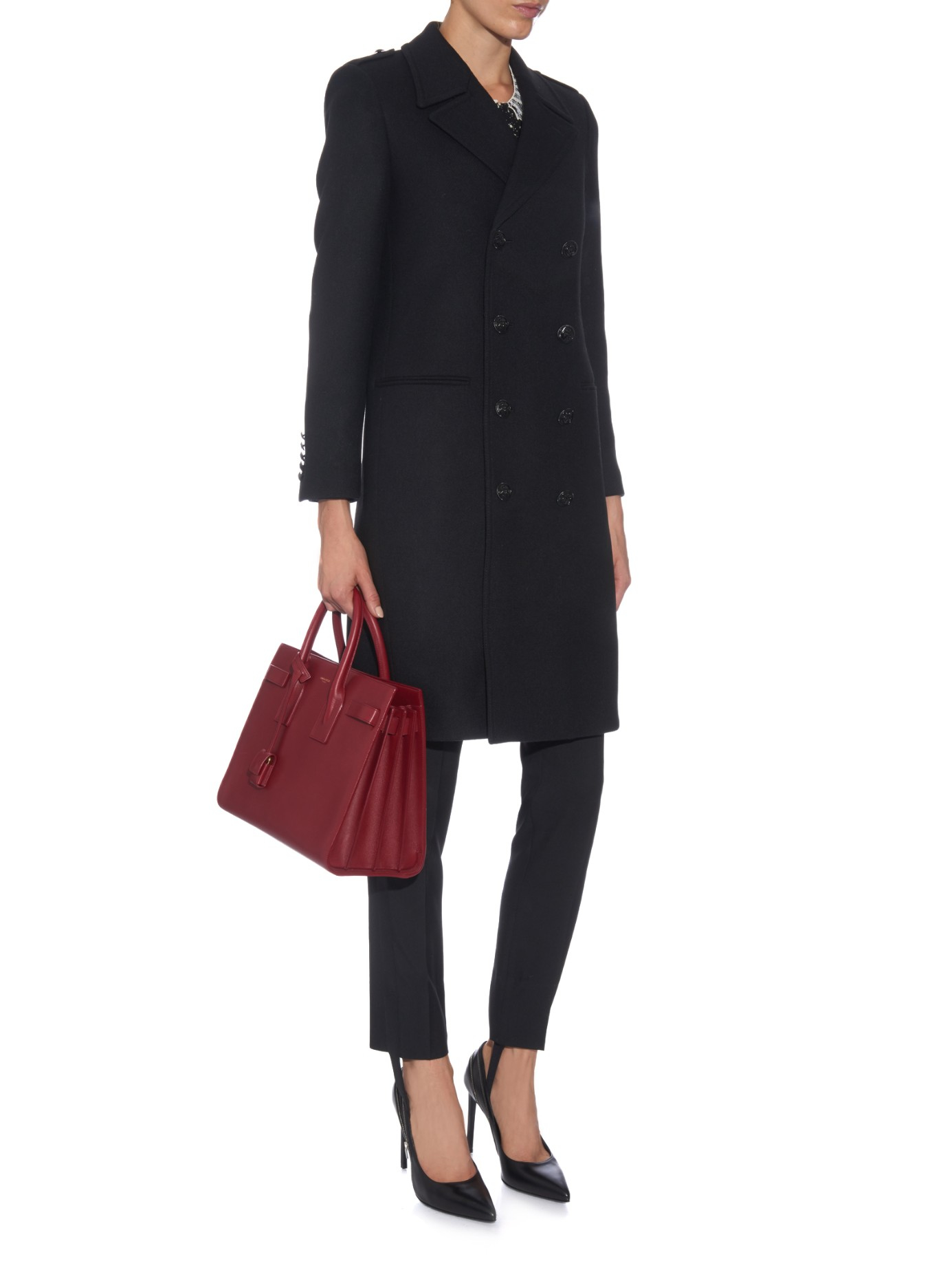 Saint laurent Chesterfield Double-breasted Wool Coat in Black | Lyst