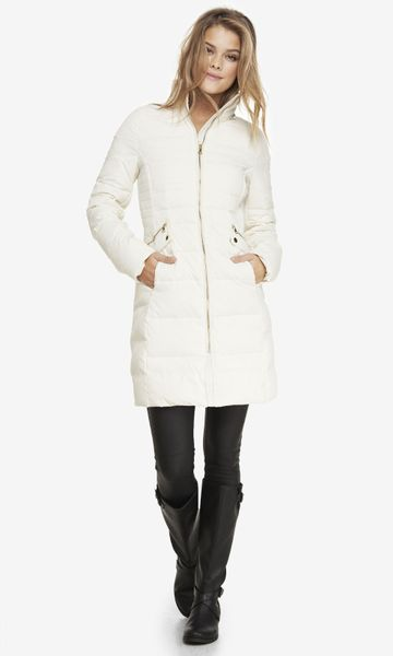 Express Hooded Faux Fur Trim Fitted Puffer Coat In White