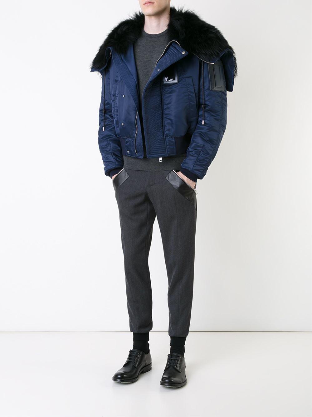 Juun.J Oversized Collar Padded Bomber Jacket in Blue (Black) for Men