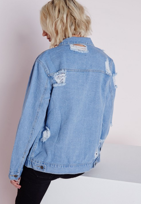 b3901805ae7 Lyst - Missguided Extreme Rip Oversized Denim Jacket in Blue