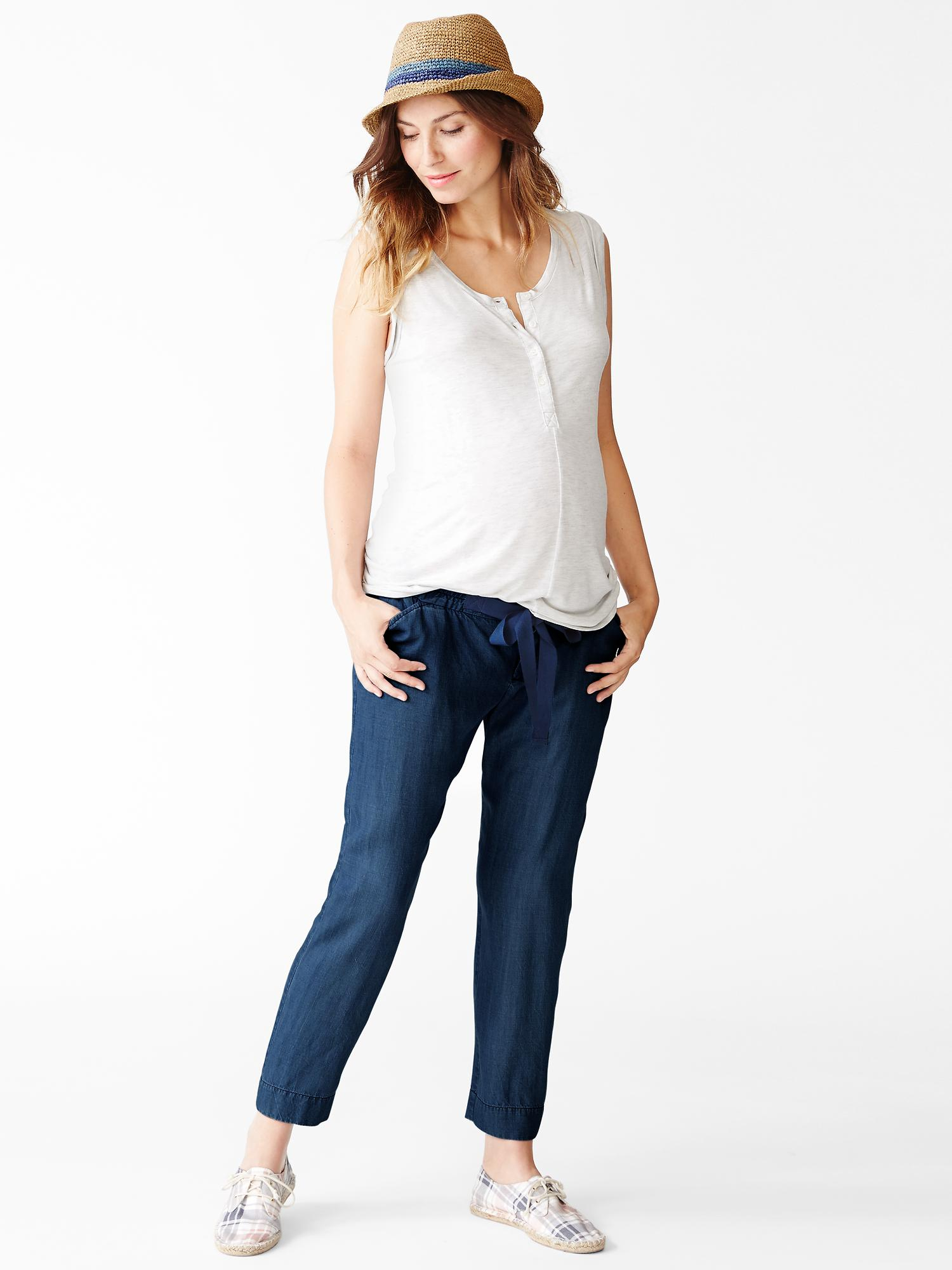 Gap tencel chambray pants in blue medium wash lyst for Chambray jeans