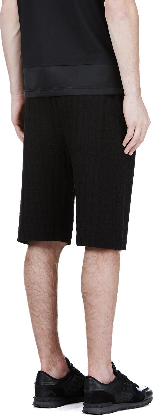 Lyst Kris Van Assche Black Croc Pattern Knit Shorts In Black For Men