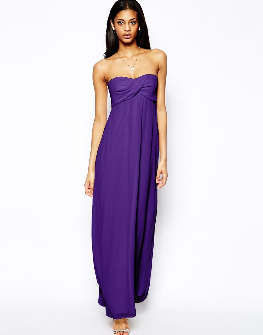 Lyst - Asos Bandeau Maxi Dress in Purple