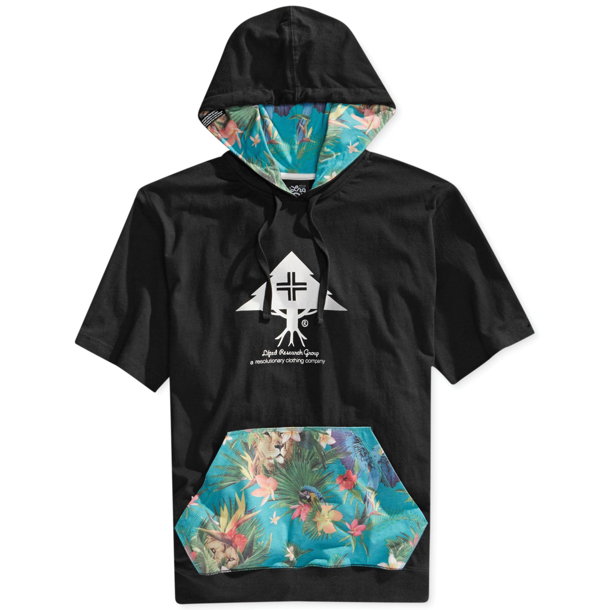 Lrg Vacation Club Shortsleeve Layering Hoodie Pullover in Black ...