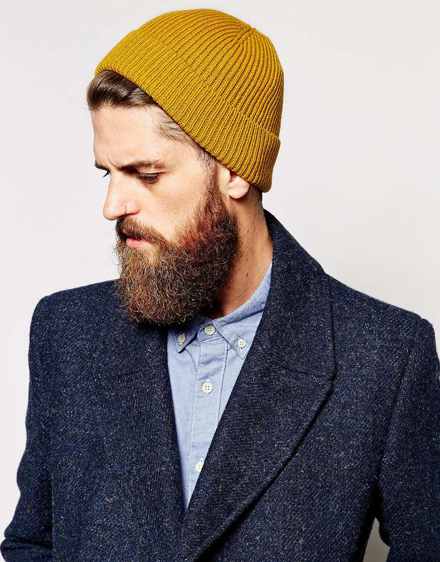 Lyst - ASOS Fisherman Beanie Hat in Yellow for Men 65cbcea1c82