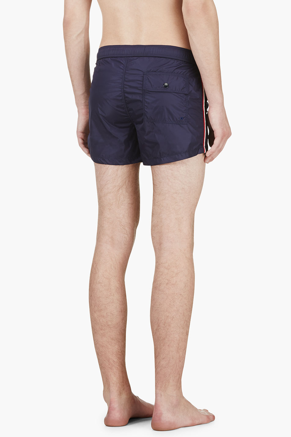 1403817320 Lyst - Moncler Navy Side Stripe Logo Swim Shorts in Blue for Men