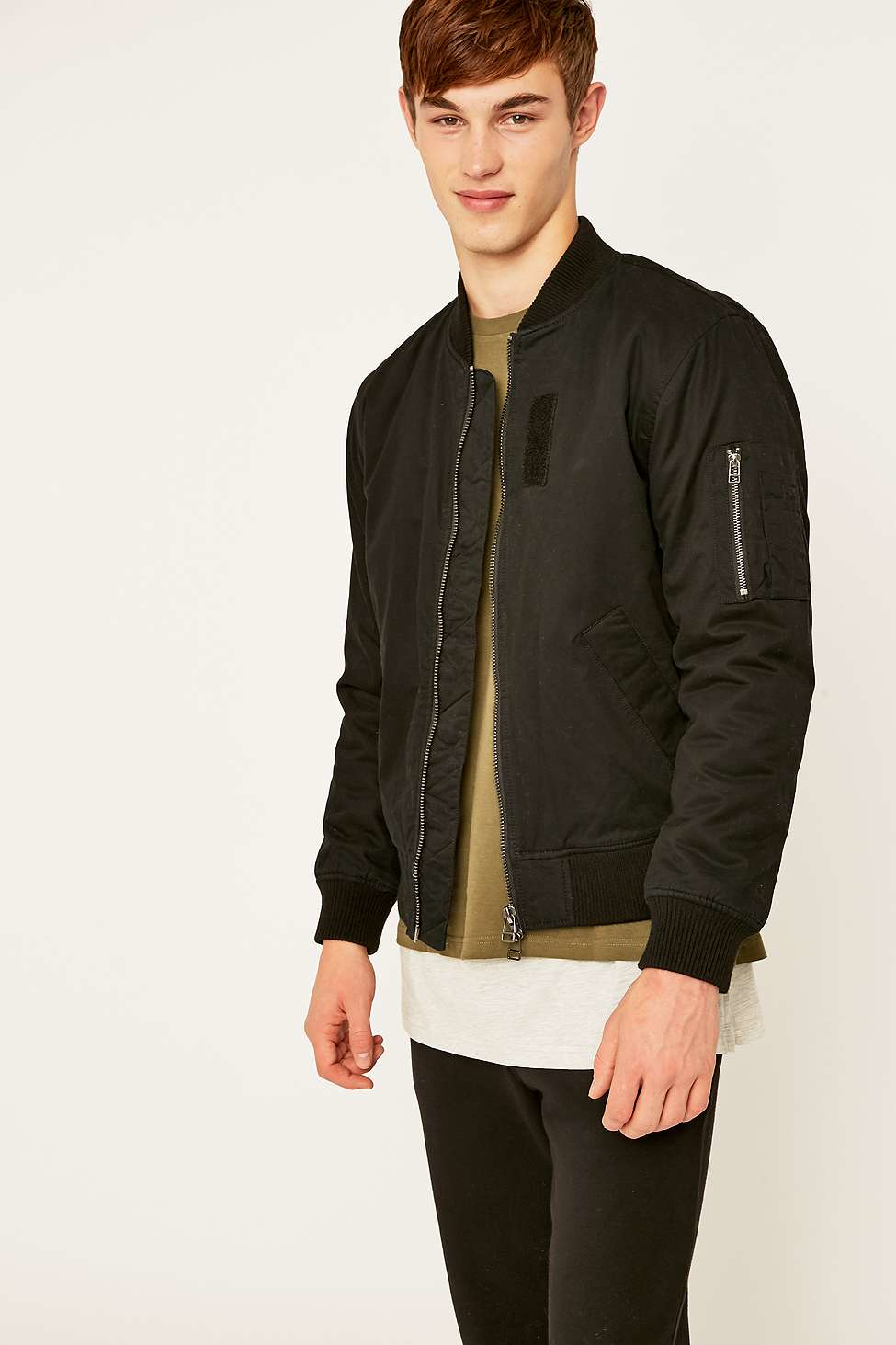 5d514a876 Urban Outfitters Austin Black Bomber Jacket for Men - Lyst