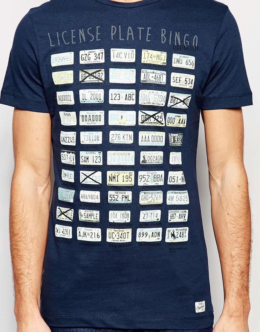 Blend license plate bingo print slim t shirt in insignia for T shirt licensing agreement