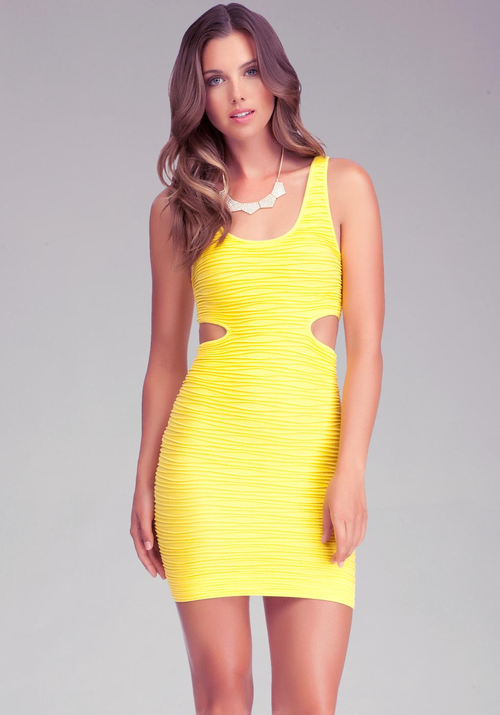 Bebe Side Cutout Bodycon Tank Dress In Dandelion Yellow