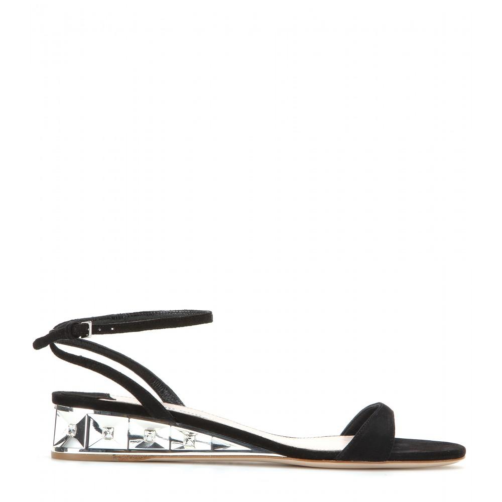 Miu Miu Embellished suede sandals aNFOt