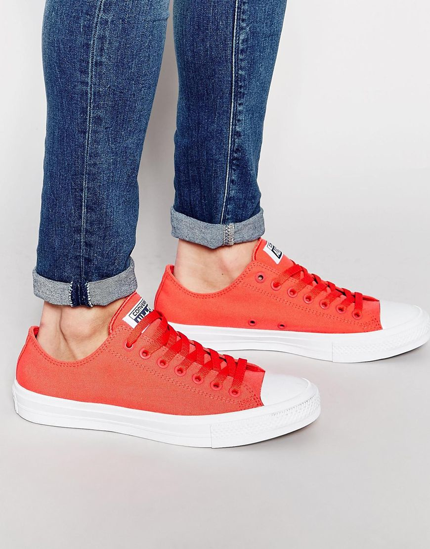 ff1b8fd38758a Converse Chuck Taylor All Star Ii Plimsolls In Red 151123c - Red in ...