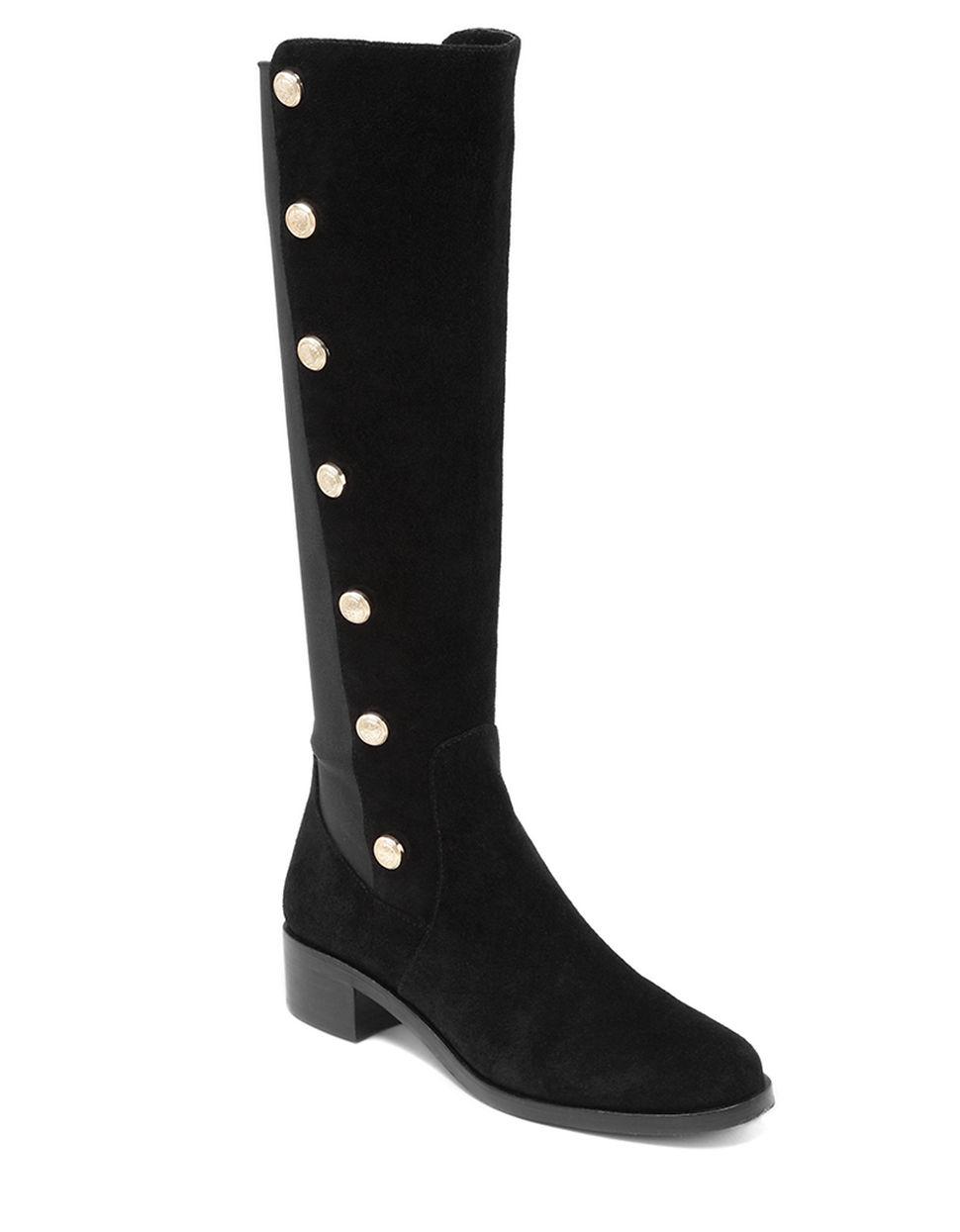 vince camuto vacilla suede boots in black lyst