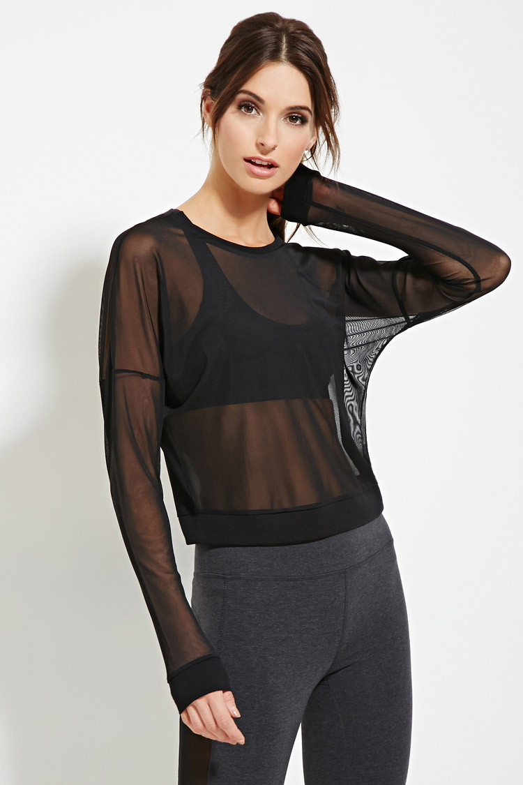Forever 21 active sheer mesh top in black lyst for Best athletic dress shirts