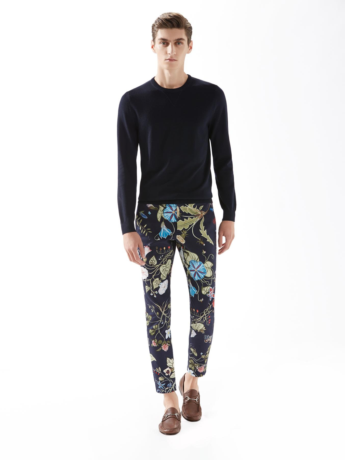 Gucci Flora Knight Print Stretch Gabardine Pants In Blue