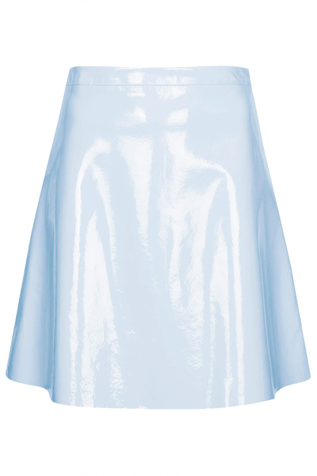 topshop patent leather flippy skirt in blue lyst