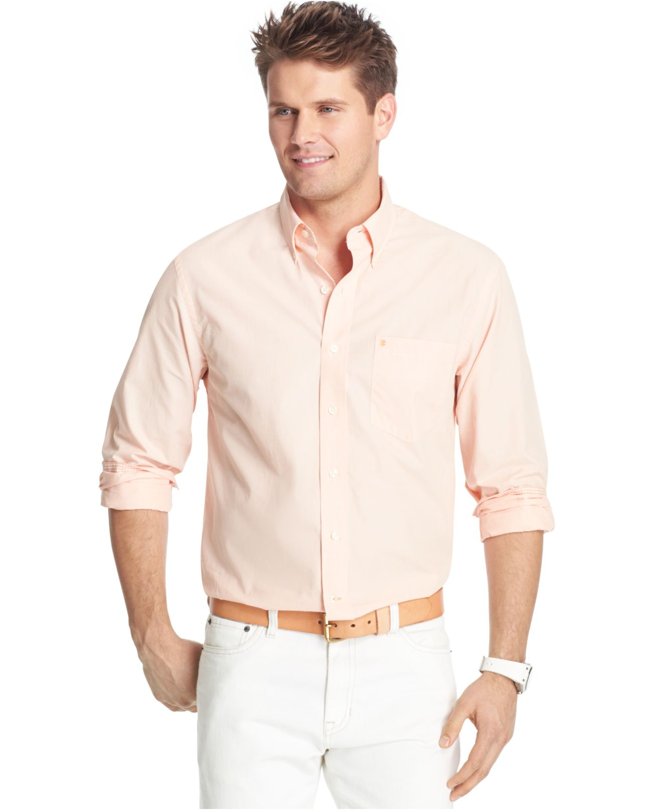 Izod big and tall solid long sleeve shirt in pink for men for Izod big and tall essential solid shirt