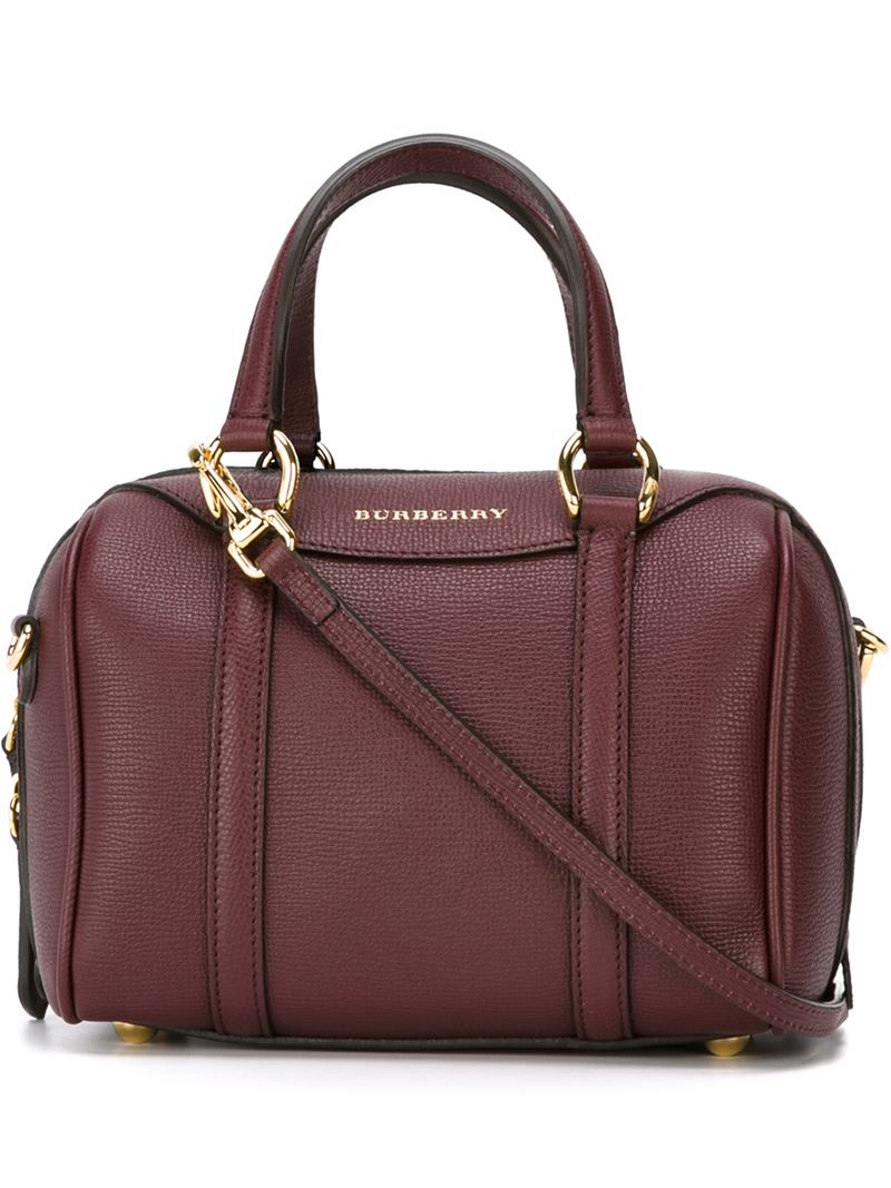 lyst burberry shoulder strap leather bowling bag in red