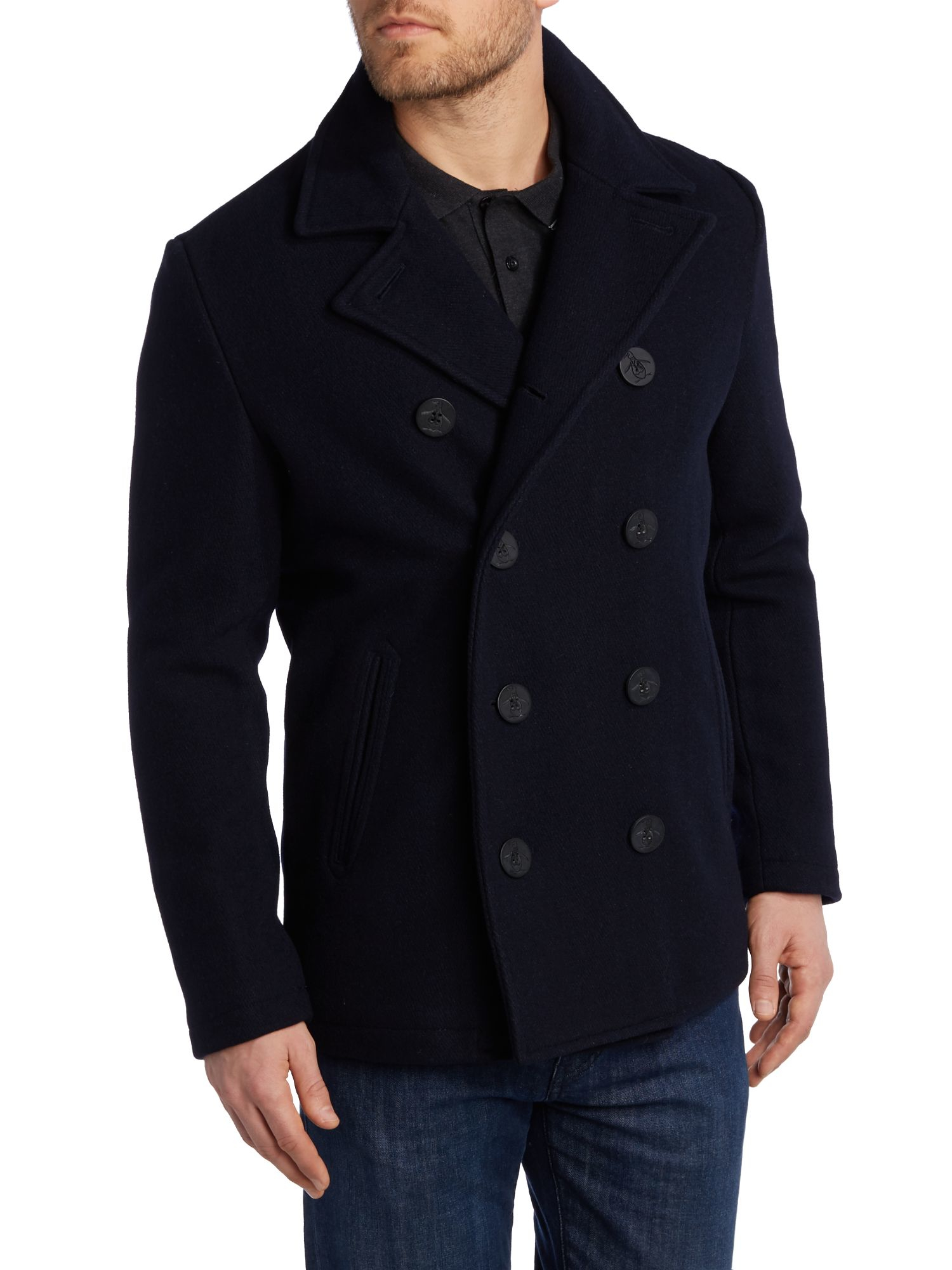 Original penguin Lance Wool Peacoat in Blue for Men | Lyst