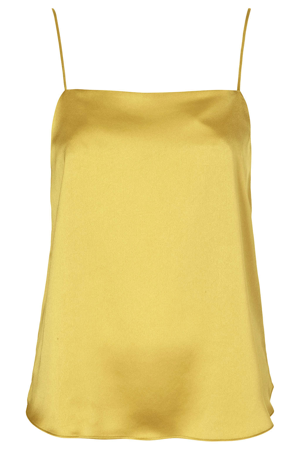 yellow satin cami topshop satin straight neck cami top in yellow lyst 3860