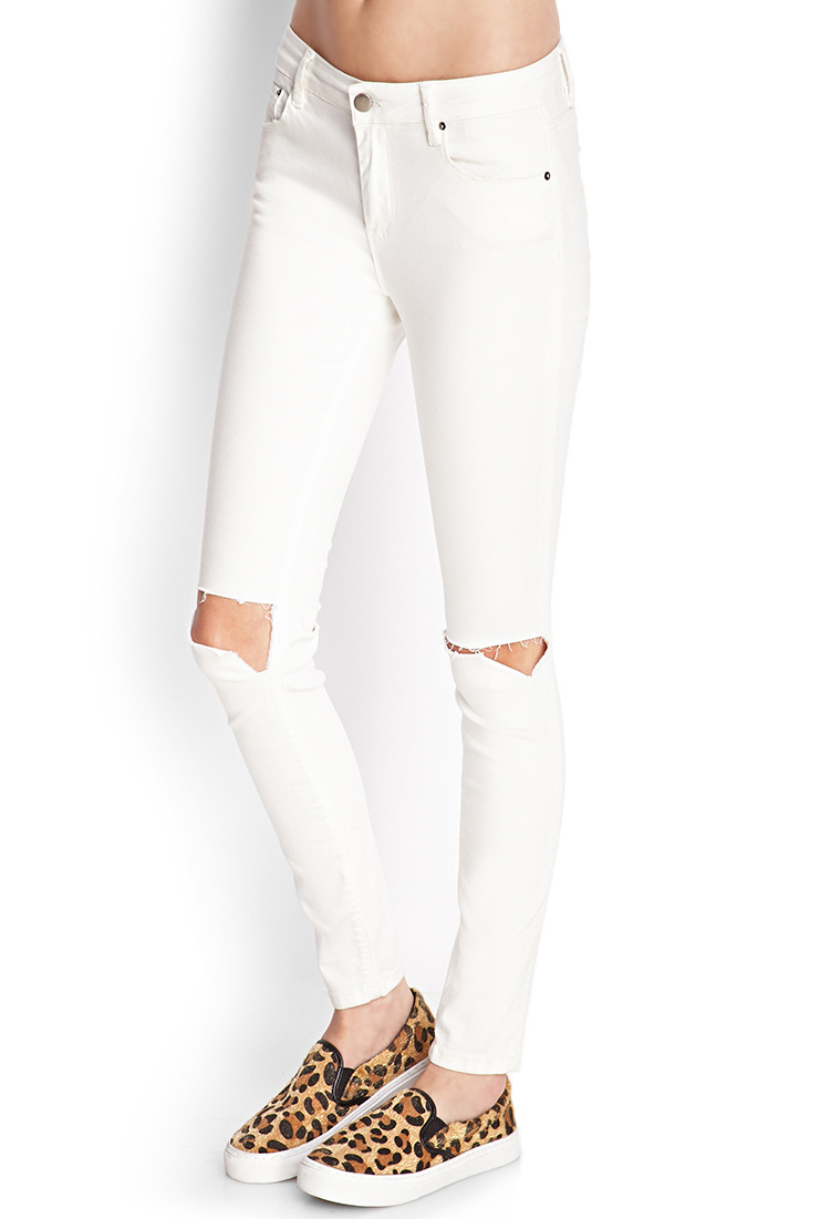 White Ripped Skinny Jeans Forever 21 - Best Jeans 2017