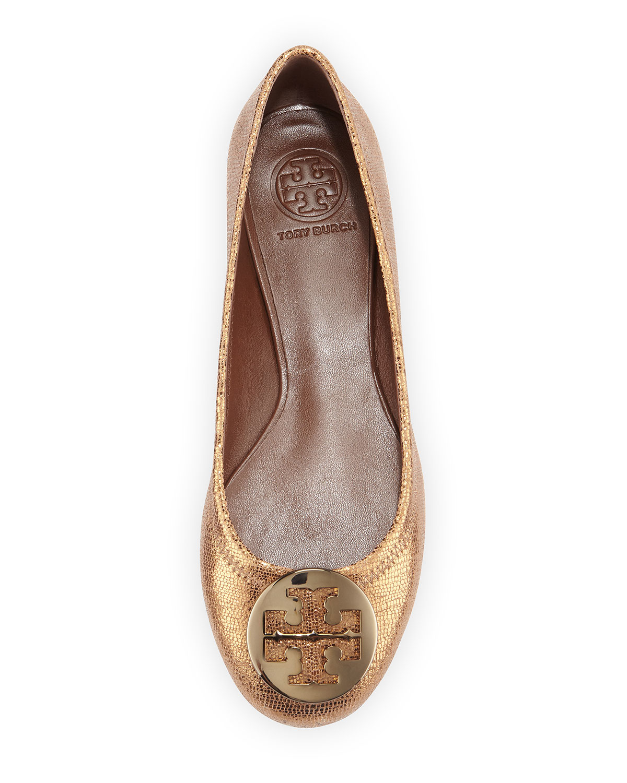 3134711f42b4 ... reduced lyst tory burch reva metallic leather ballet flat in metallic  f00ee 5f9d8
